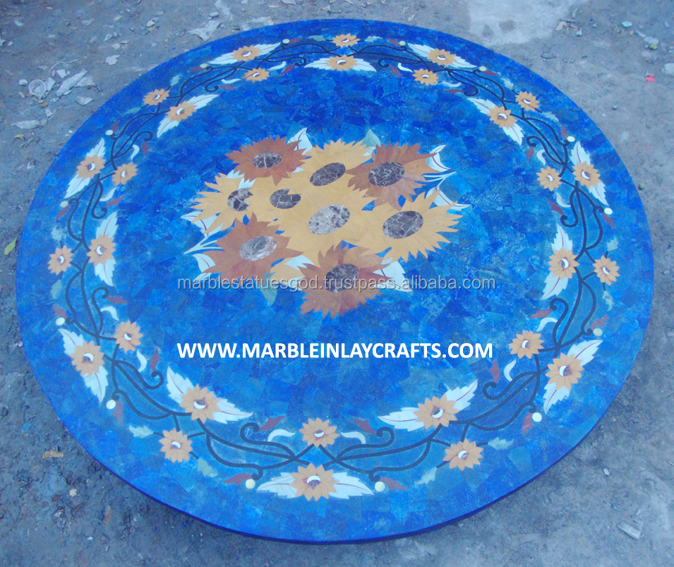 Lapis Lazuli Marble Inlay Coffee Table Top