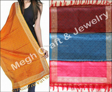 Winter Wear Silk Shawl-Paisley stoles with fringes-double sided pashmina shawl