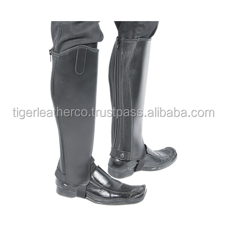 Real black leather half chaps