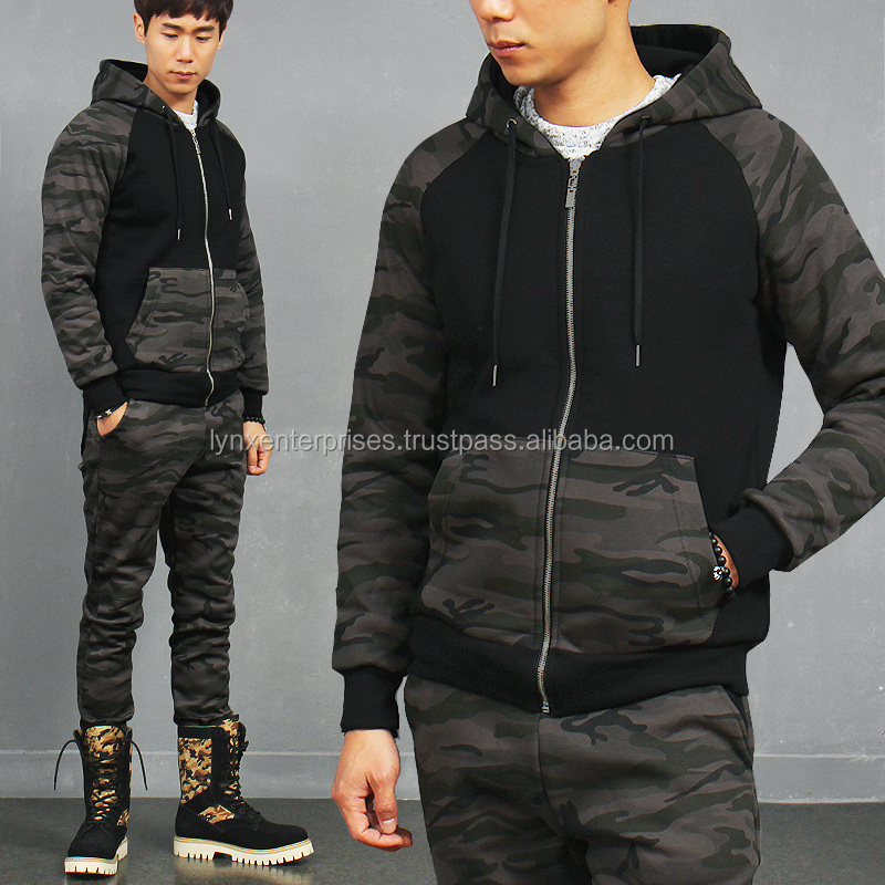 Military Look Atheletic Camouflage Hooded Winter Slim Sweatshirt