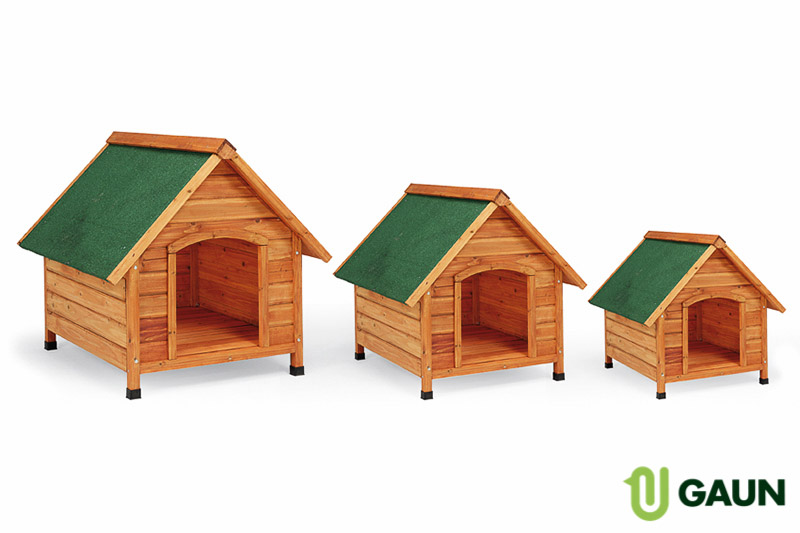 Wooden kennel sloping roof. Small