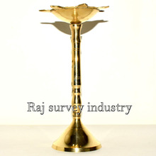 Diya Religious Brass Oil Lamp With Stand Diwali Pooja Aarti Accessory