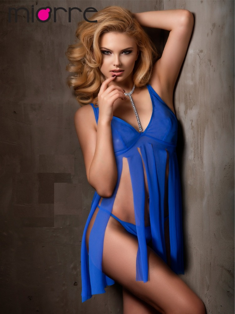 Miorre Sexy Sachs Blue Tulle Lingerie Babydoll with Swarovksi Necklace