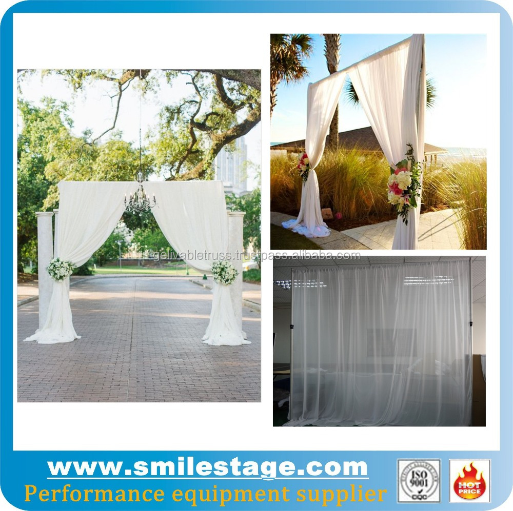Used pipe and drape photo booth for wedding backdrop