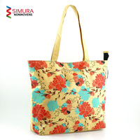 Tote Bag with Customised Flower Silk Screen Print