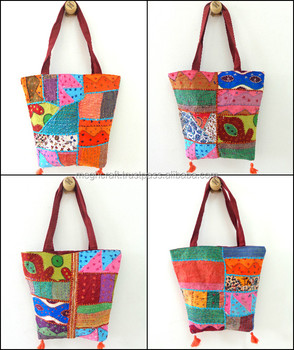 Wholesale Kantha Work Shoulder bag / Wholesale Patchwork Vintage Handbag / Basket style Handbag /Bohemian Style Handbag/Boho bag