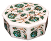 "4""x3""x2"" White Marble Jewelry Box Real Malachite Stone Mosaic Inlaid Gifts H2264A"