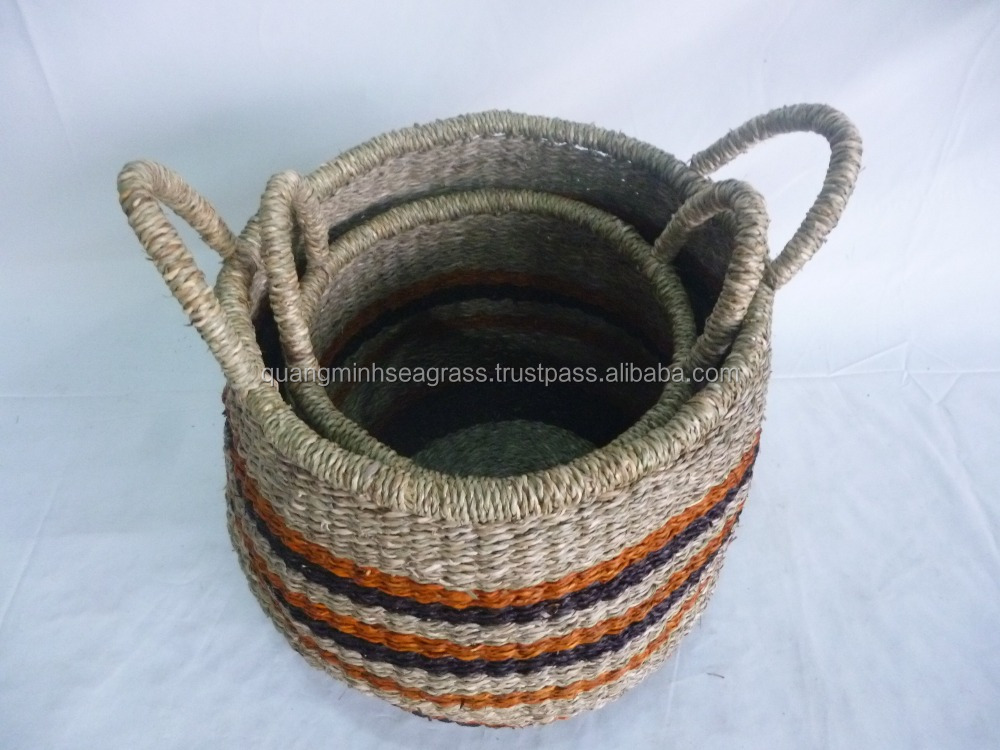 Vietnamese hand woven seagrass food basket nice design wicker staff basket with handles straw fire wood basket