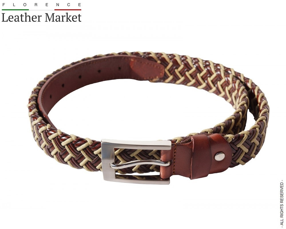 A braided Leather belts italian belts genuine leather florence leather fashion
