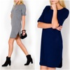 NEW Oversize Fashion Casual Loose Plain Tunic womens short dress 83631