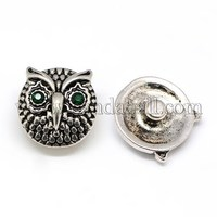 Retro Alloy Rhinestone Buttons, Owl Head Snap Buttons, Jeans Buttons, with Enamel SNAP-A001-08AS-NR