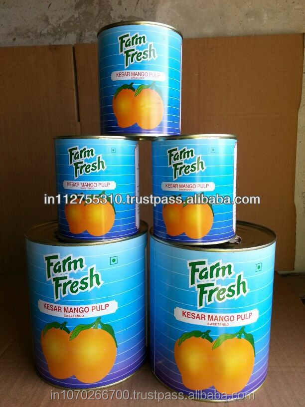 Canned mango pulp from India