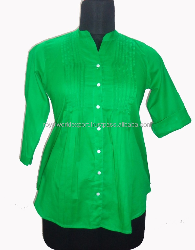 Factory Price Women Tunic Fashion Designer Round Collar Neck Green Color Custom Design Latest Fashion Women Blouse Top Quality