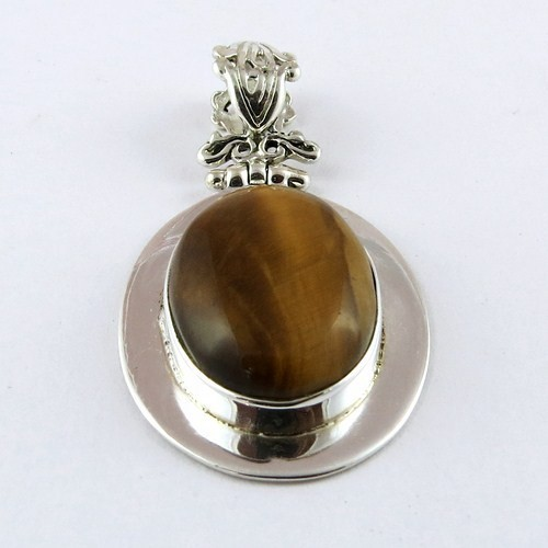Big Love Power !! Tiger Eye 925 Sterling Silver Pendant, Gemstone Silver Jewelry, Handmade Silver Jewelry