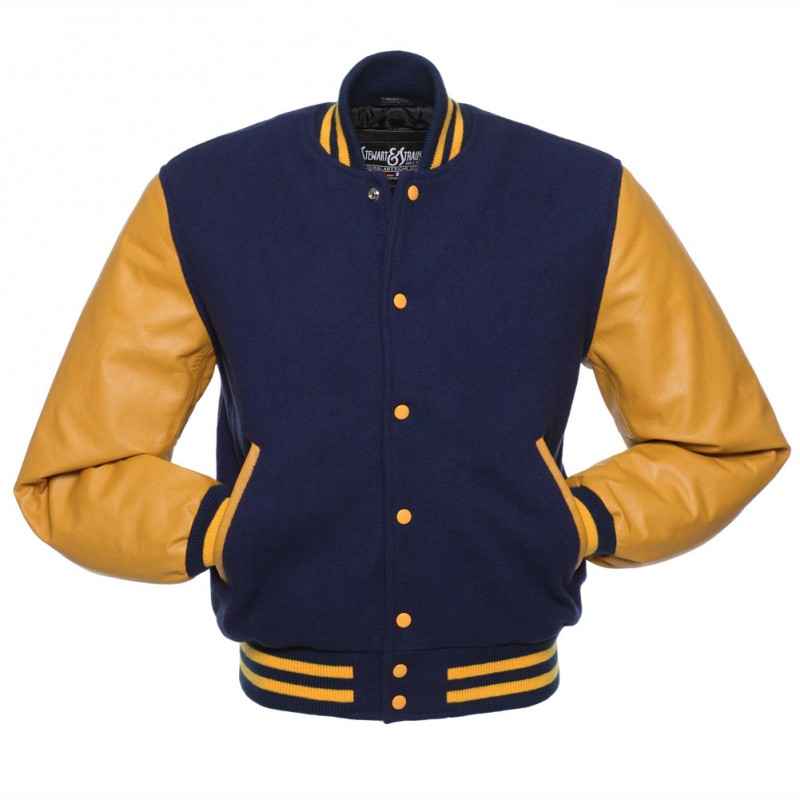 Hito Elegant New Mens Fashion College Blue Wool Gold Leather Sleeves Classic Letterman Baseball Varsity Jackets VJ-006