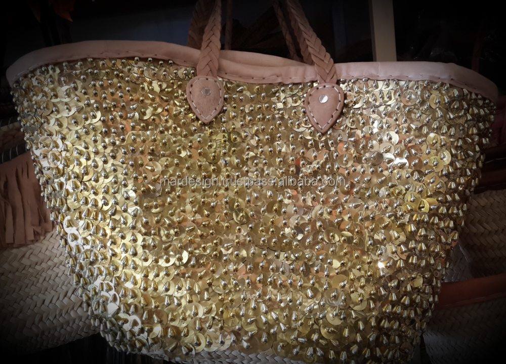Large beaded Moroccan Palm Leafs Basket with big Sequins