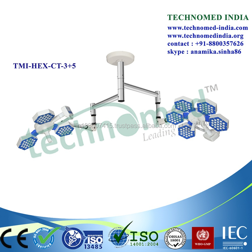 TMI-HEX-CT-5+3 Advanced tec double arm shadowless LED lamp for ICU room