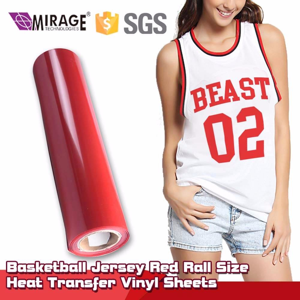 Basketball Jersey Red Rall Size Heat Transfer Vinyl Sheets