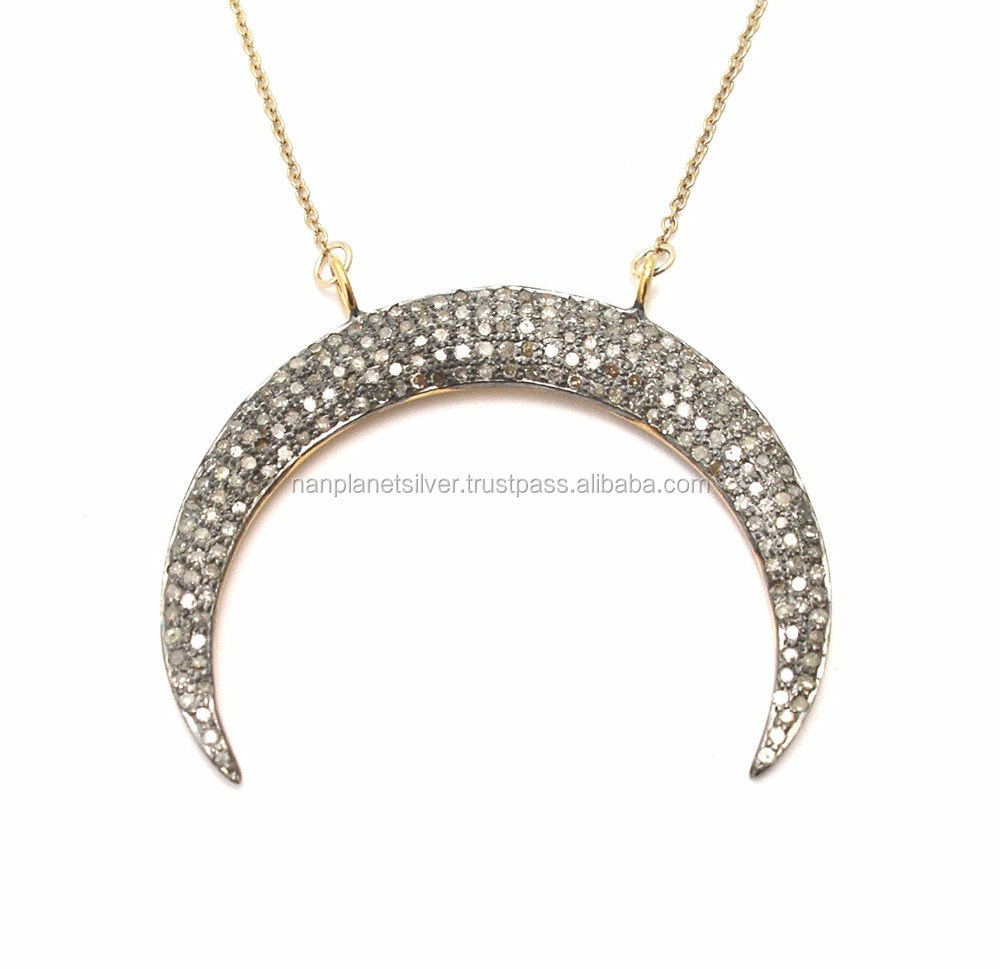Pave Cz Set Crescent Shape Pendant