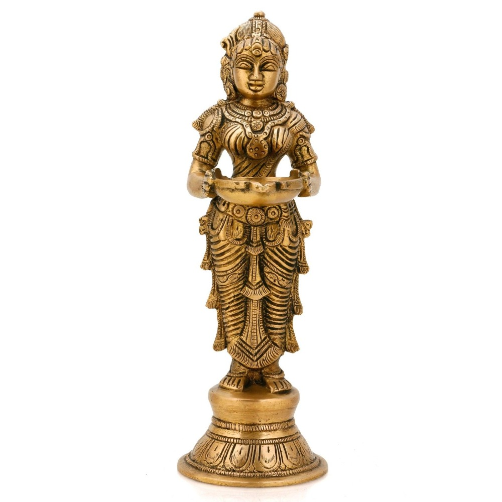Indian Lady Holding Oil Lamp Diya Brass Sculpture india Decor Puja Item Figurines