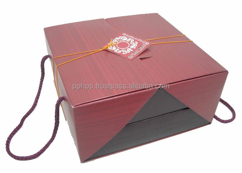 "Gift Set Twin Tray Handle Box 8.5"" (MAROON)"