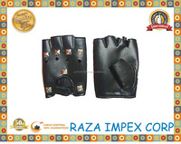 Leather Bike Half Finger Cycling Gloves Finger less Sport Short Gloves Black / cheap price cycling gloves dealer
