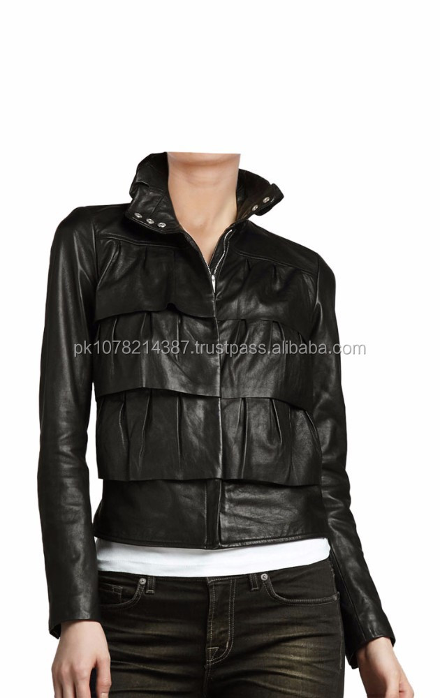 2015 FASHION STYLISH CUPCAKE LAYERED LEATHER BOMBER JACKET FOR WOMENS