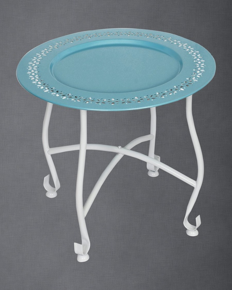 Home Furniture Decor Round Blue Moroccan Tray Table Bedside Coffee End Ottoman Sofa Table Stool with Removable Plate