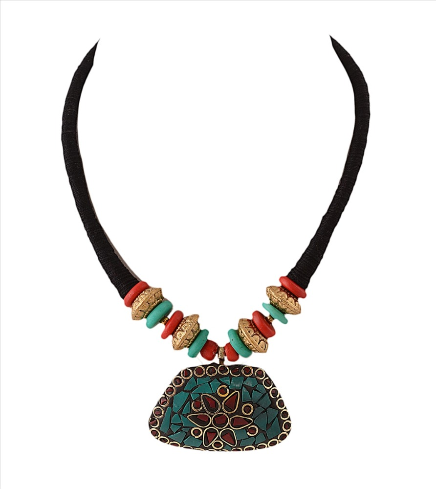 Zephyrr Fashion Necklace Tibetan Style Handmade with Inlay Work Wooden Beads