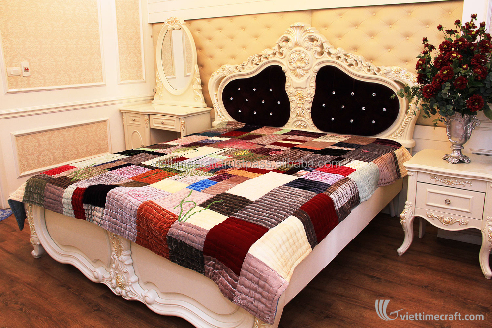 Luxurious Green Spilled Color Blanket bedding set, 100% handicraft in vietnam, blanket and pillow cover