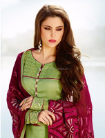 New Olive Green Color Long Straight Cut Bottom Zari embroidery Border Designer Semi Stitch Salwar Kameez