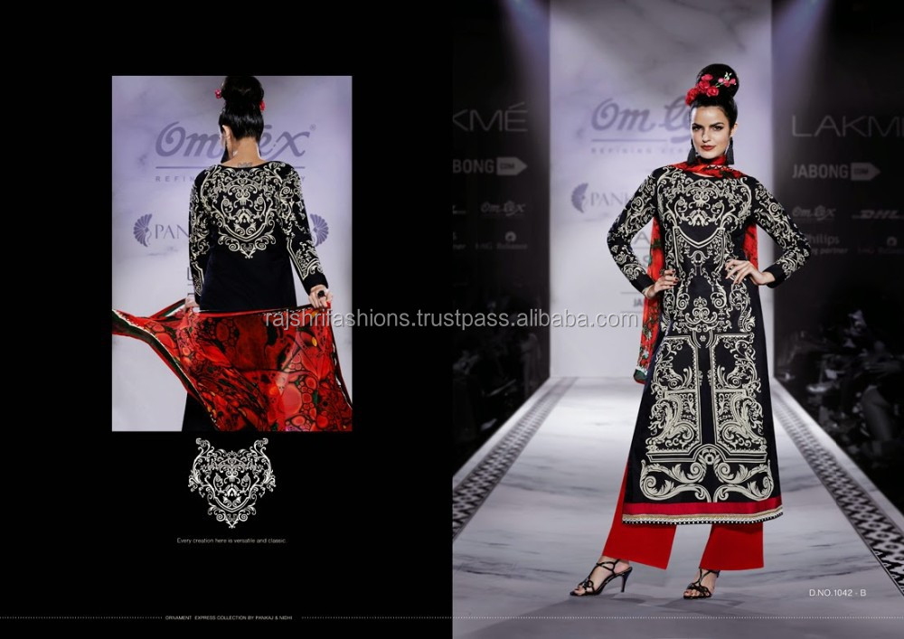 Black color with Cream Color Front & Back Printed Laxme Designer salwar kameez