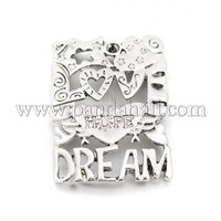 Alloy Enamel Connector Settings, Rectangle with Words Love, Hope and Dream, Lead Free & Nickel Free PALLOY-M129-AS-FF