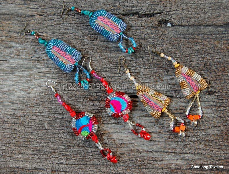 Hand Embroidered Vintage Hmong Earrings Hill Tribe Jewelry with Beads