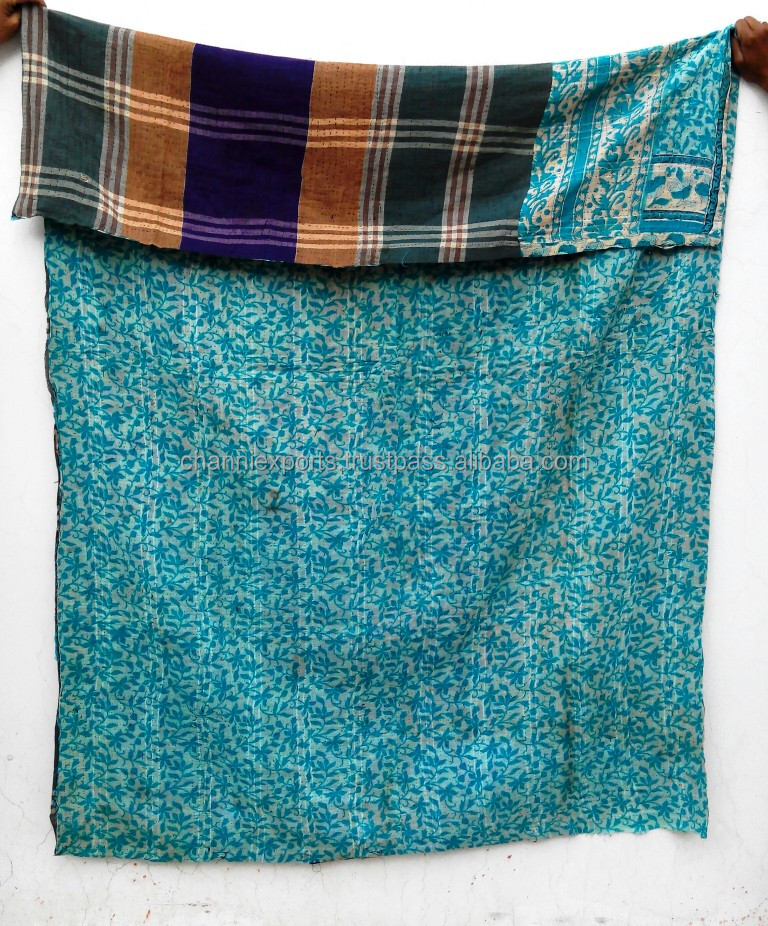 Vintage handstitch reversible pure cotton kantha quilts throws blankets