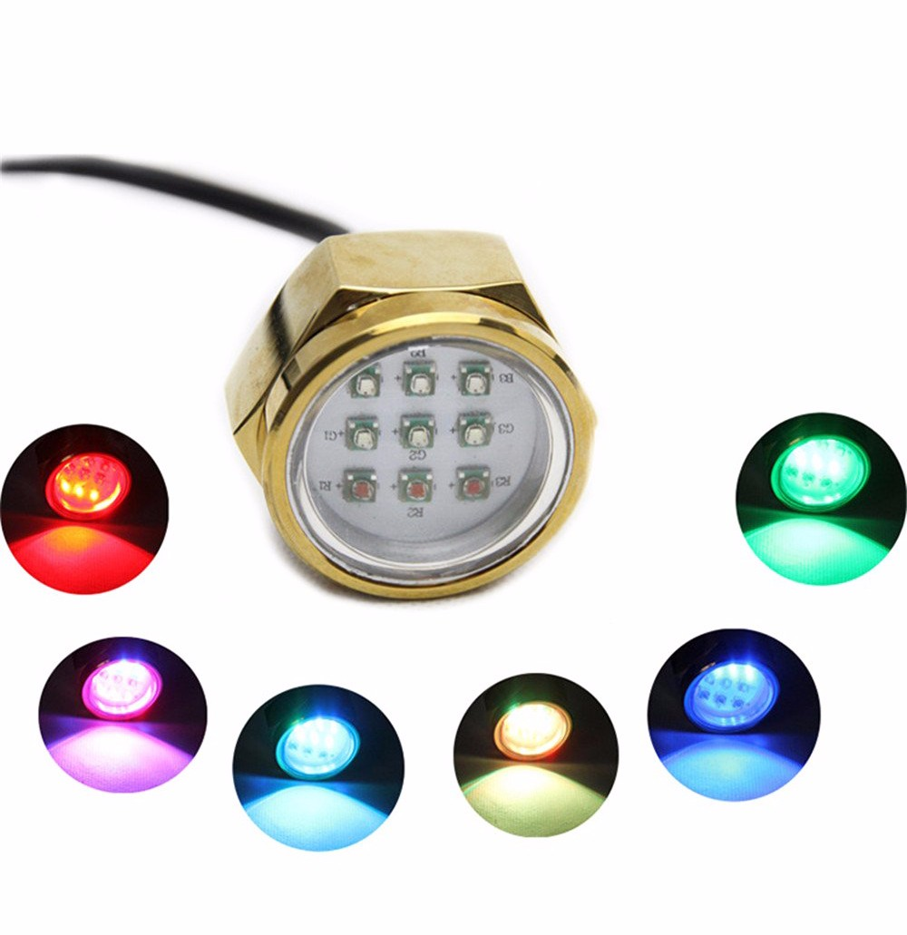 100% Waterproof 9*3w underwater marine boat light rgb/marine dock light