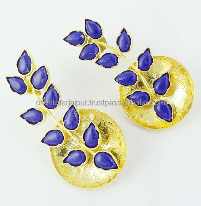 Created Lapis Gold Plated Artificial Stud Earrings Fashion Jewelry RT-26
