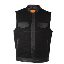 Mens Black Motorcycle & Biker Club Vest With Leather Trims & Front Zip Up FC-7130