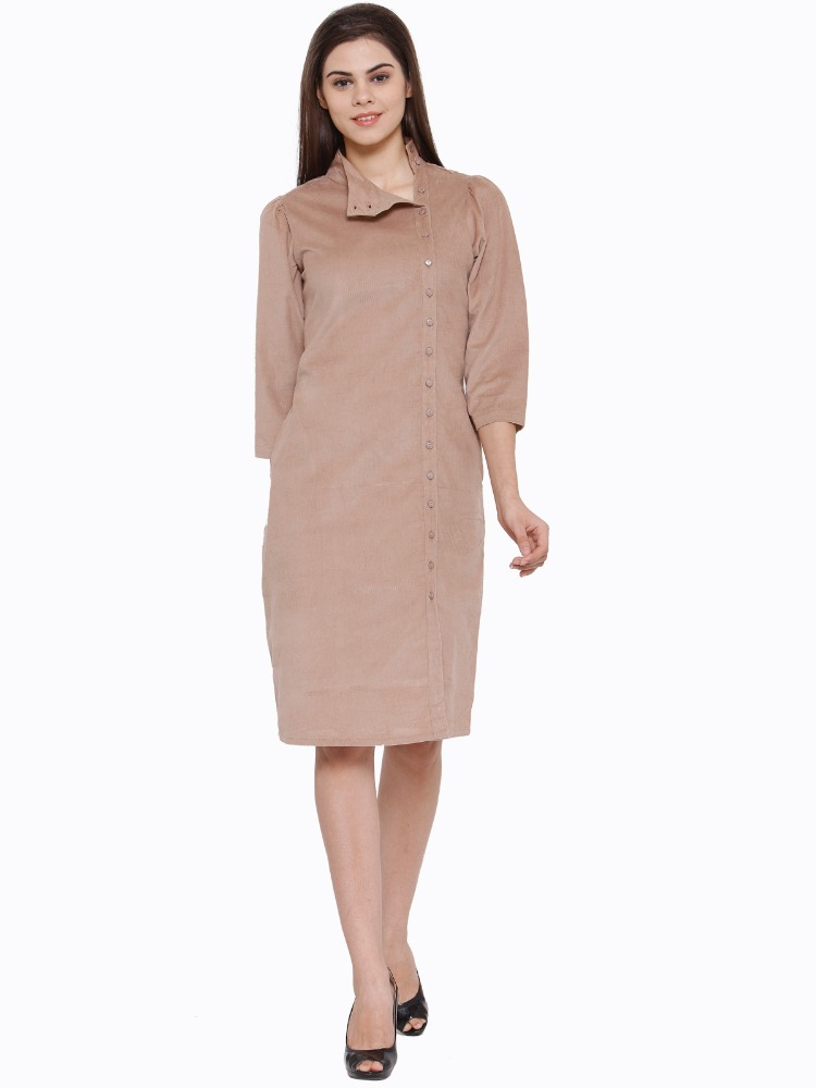 Ladies Casual High Neck Front Closure Side Pocket Dress - 3/4th Sleeve - Manufacturer Exporter