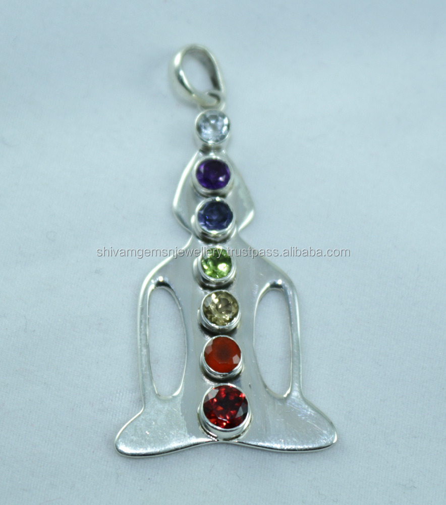 Mix Stone Good Qualitity Round Shape Faceted Cut Stone 925 Sterling Silver Chakra Pendants