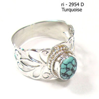 Turquoise rings silver jewelry with blue stone Jaali cut rings handmade jewelry Fashion rings