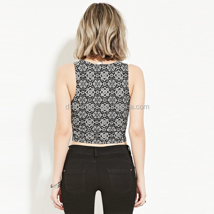 Chic China Factory Wholesale Price Fashion Knit Custom Ornate Print Crop Tops