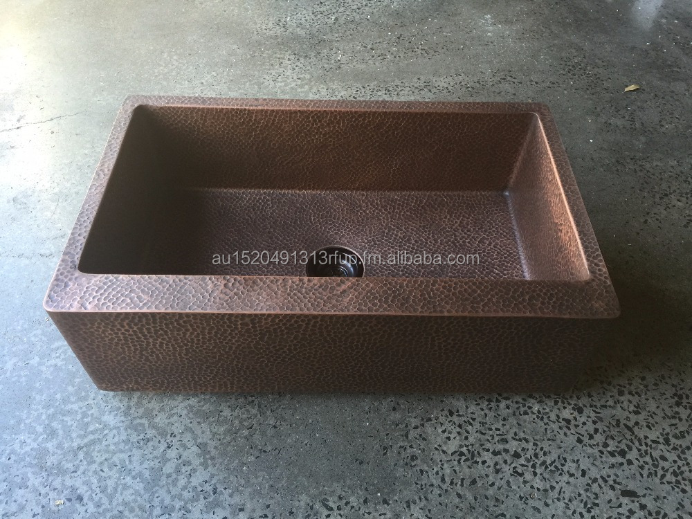 Solid copper kitchen sinks