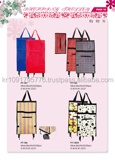 Rolling shopping bag catelogue, folding customize fabric shopping cart with wheel and seatl