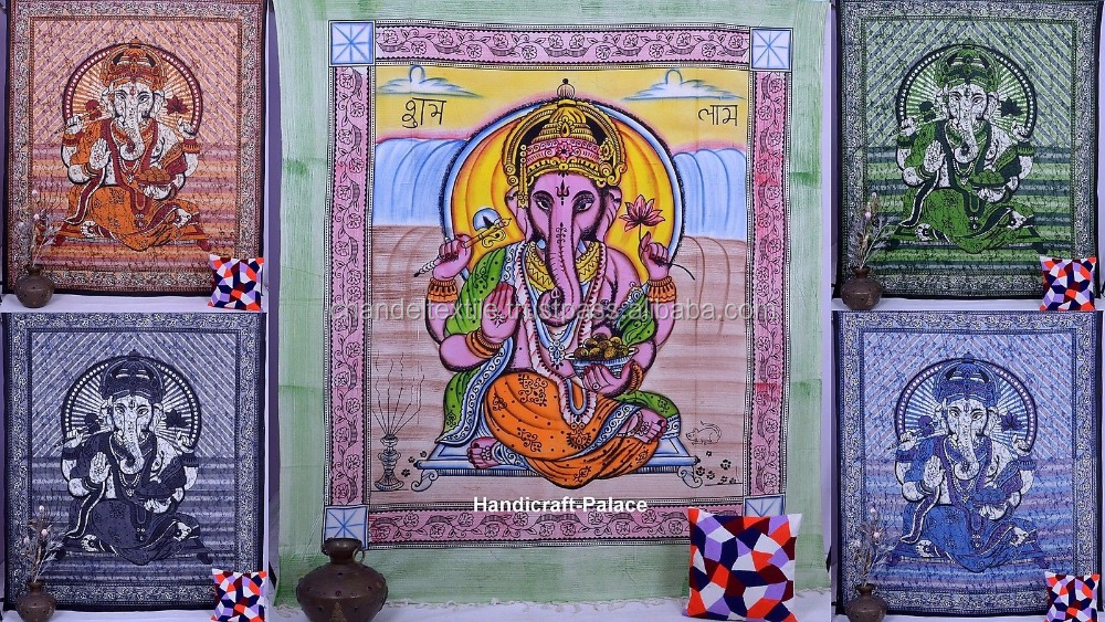 Purple Ganesha Wall Hanging Hippie Tapestry Throw Bedspread Indian Ethnic Decor queen Mandala Tapestry Good Luck Charm Decor art