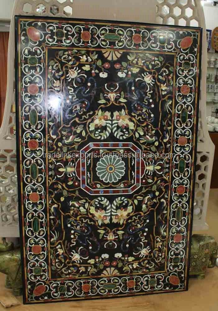 Semi Precious Marble Stone Inlaid Coffee Table Top Pietra Dura Inlay Marble Table Top