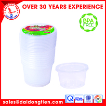 Compartment takeaway food container Plastic Food Containers Save energy,environmently-friendly p Take away round food cont.600ml