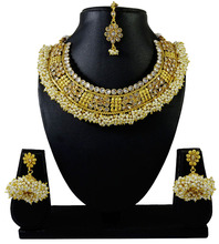 Ethnic Goldtone 3PC Necklace Maang Tikka Earring Set South Indian Style Jewelry IMSM-BNS268-PAR