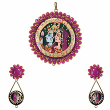 Exclusive Radha krishna painting pachi pendant jewelry set in wholesale price