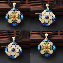 Sterling Silver Cloisonne pendants charms with flower handmade different materials adjustable charm bracelet
